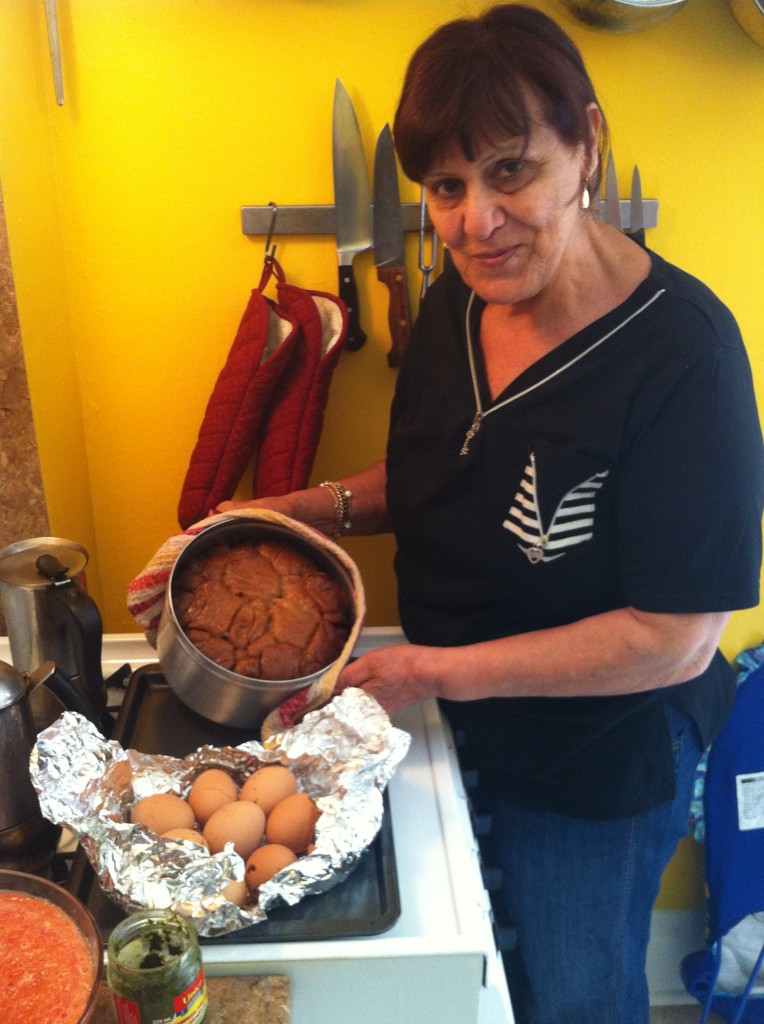 My mom, making jichnoon in my Toronto kitchen!