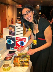 Signing books at the Vancouver Writers' Fest bookstore